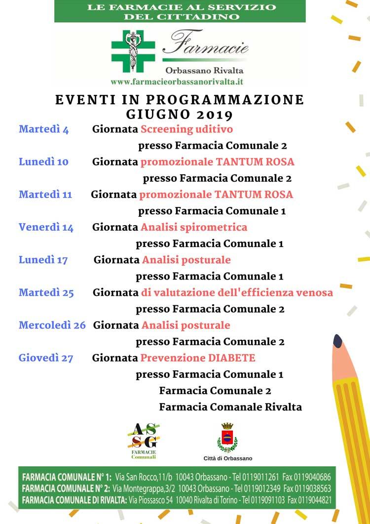 Eventi giugno 2019 Farmacie Orbassano Rivalta. Le giornate per la prevenzione della tua salute