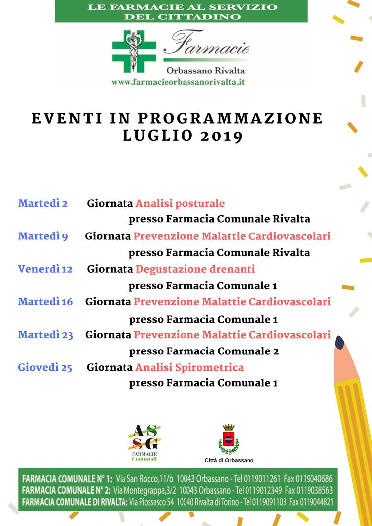 eventi in programmazione di luglio sulla prevenzione in farmacia. Farmacie Orbassano Rivalta