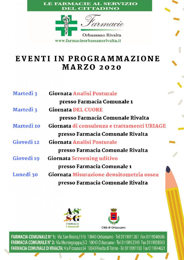 Eventi Marzo 2020 - Programma Farmacie Orbassasno Rivalta